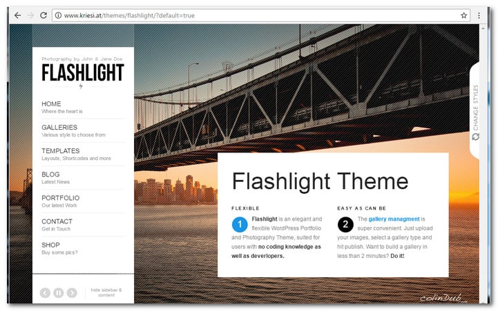Flashlight – full Screen background portfolio theme