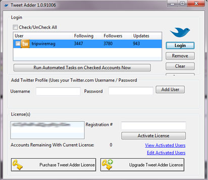 tweet adder login screen