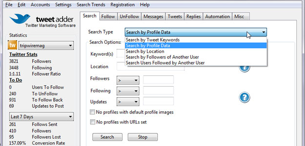tweet adder search options
