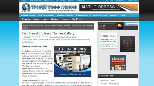 sites dedicated to wordpress themes