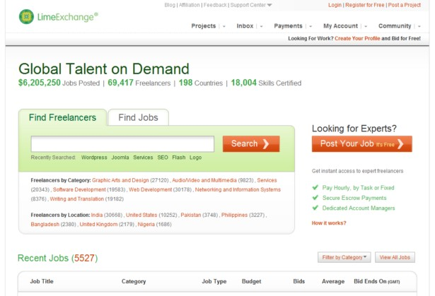 LimeExchange - Outsource to Freelancers, Web Developers, Programmers