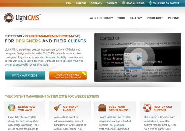 LightCMS - Web Content Management System for Designers and Ad Agencies