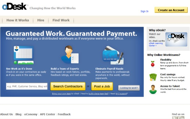 oDesk - Changing How the World Works Sign In Create an Account