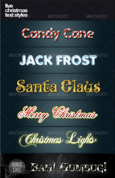 Five Christmas Text Styles