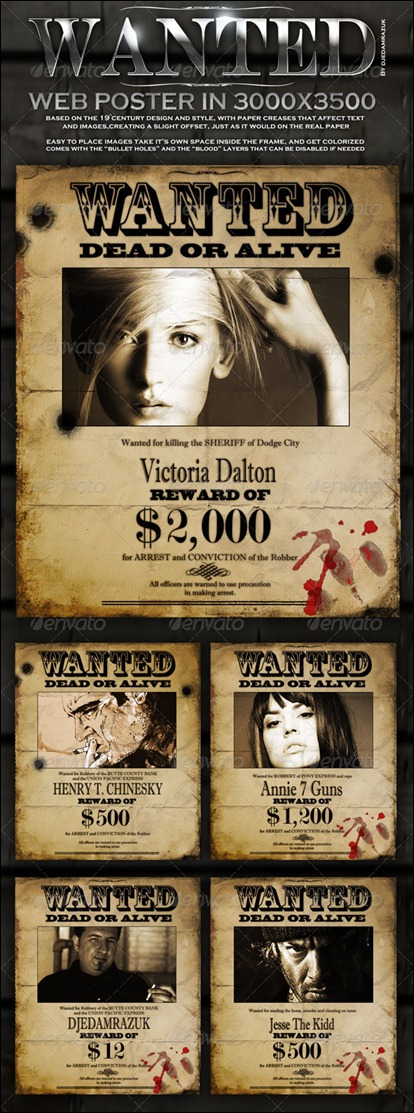 "Old ""Wanted"" Poster – Editable"