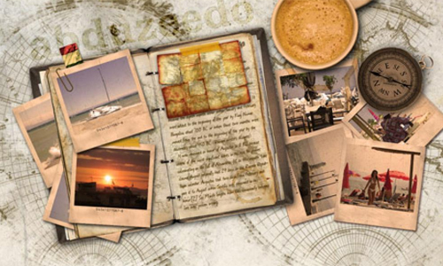 Vintage Traveler Diary Photoshop Tutorial