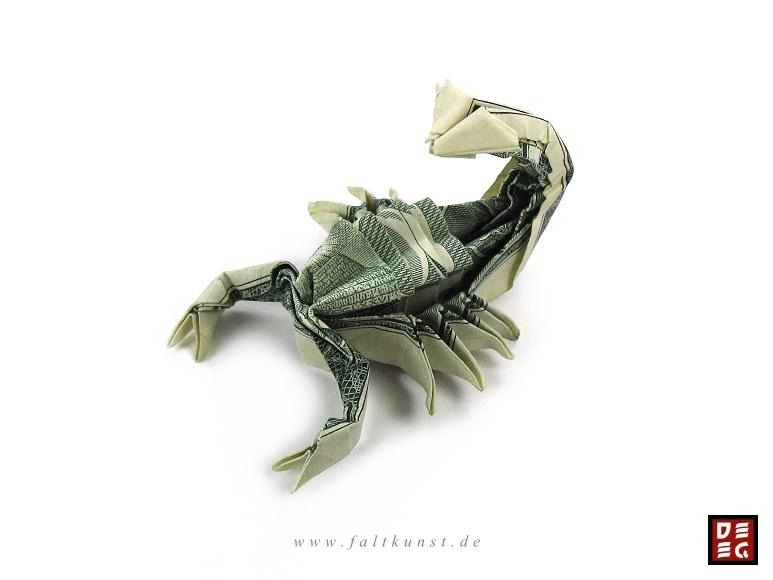Modular Money Origami Star from 5 Bills - How to Fold Step by Step | 580x773
