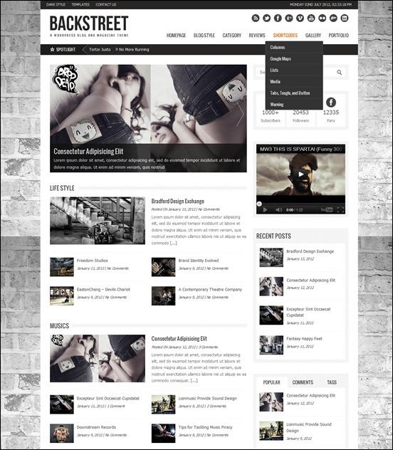 Backstreet is a modern WordPress magazine, portfolio and blog theme