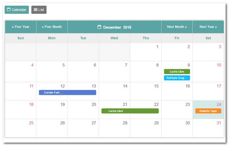 Tiva Events Calendar