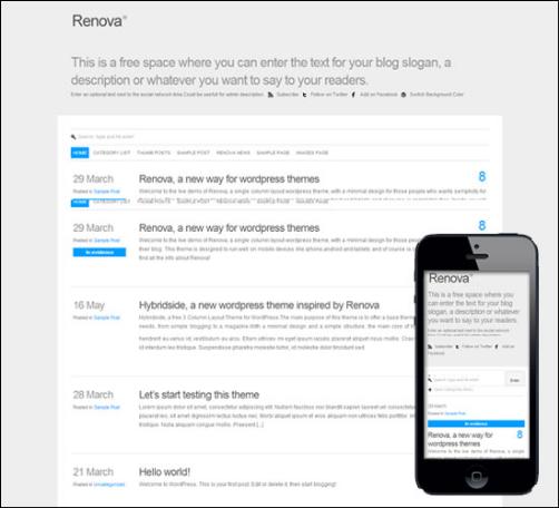 Renova, a unique and very different single column theme for WordPress