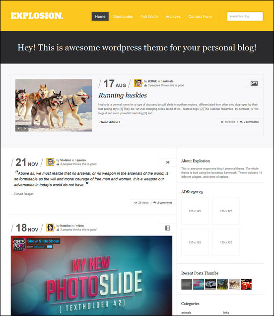 explosion responsive wordpress blog personal WordPress Haber ve Portal Temaları
