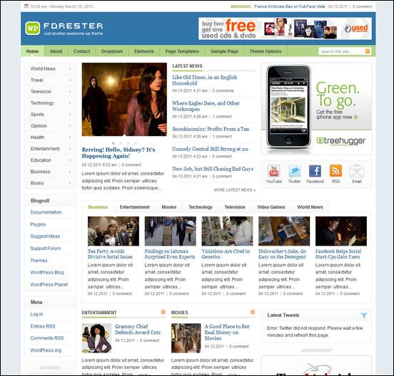 forester theme WordPress Haber ve Portal Temaları