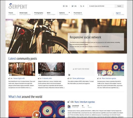 serpent responsive social network theme WordPress Haber ve Portal Temaları