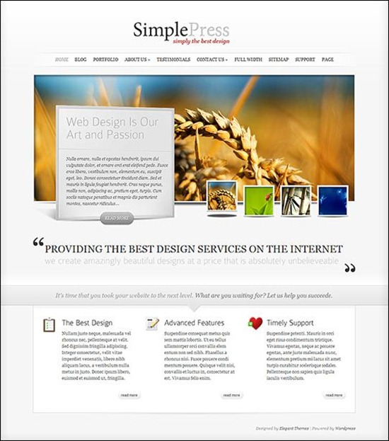 simplepress a fresh and professional looked theme for wordpress