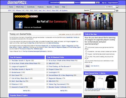 GameFAQs-gaming-websites