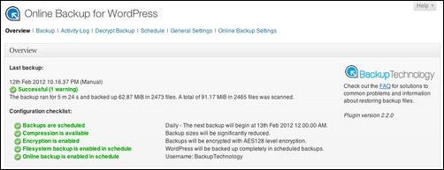 Online Backup For WordPress plugin