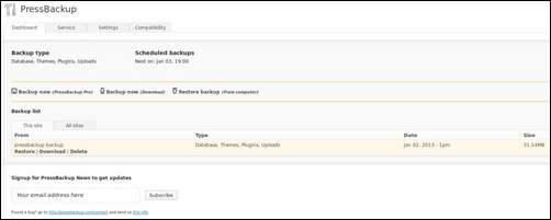Pressbackup wordpress backup plugin