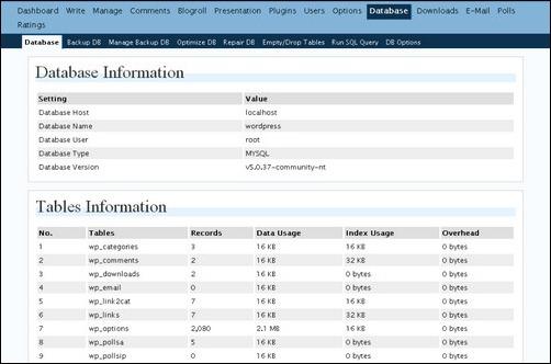 WP-DB Manager wordpress backup plugin