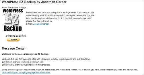 WordPress EZ Backup plugin