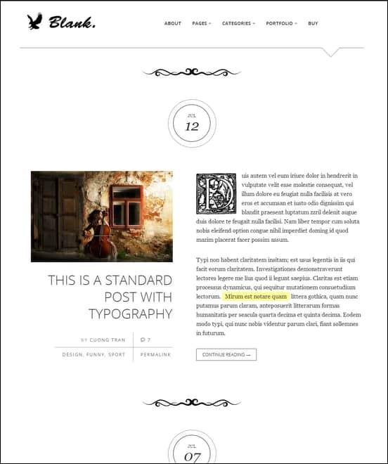 Blank - Elegant and Minimalist WordPress Blog