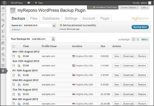 myRepono WordPress Backup Plugin & Service