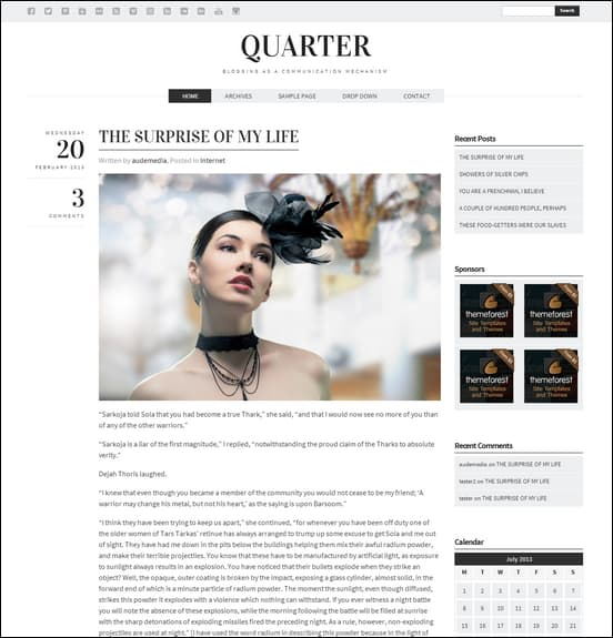 Quarter - Responsive WordPress Blogging Theme