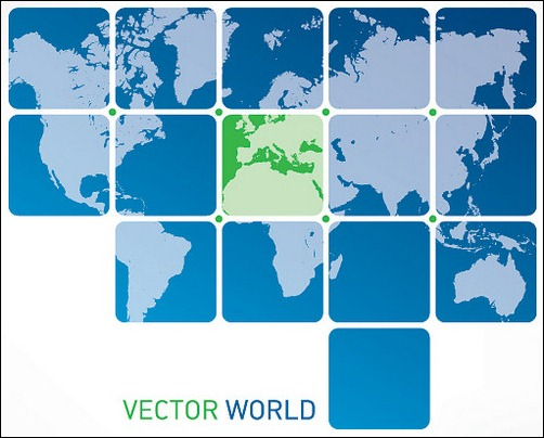 vector world map in boxes