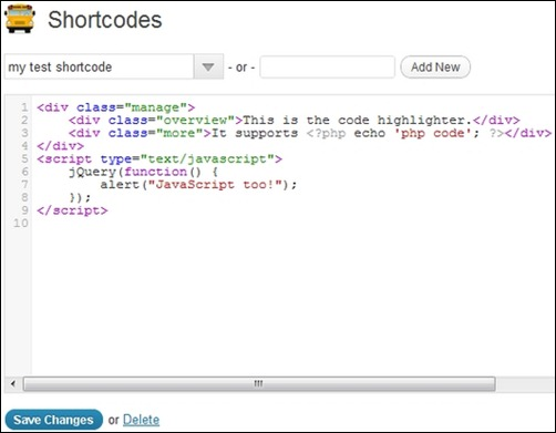 Shortcode-Manager
