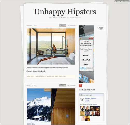 Unhappy Hipsters Creative Tumblr Blog Designs