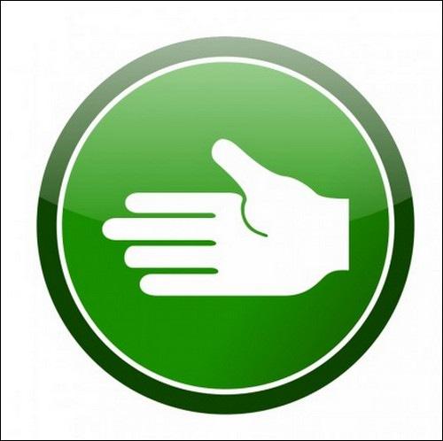 green-cirlce-hand-icon-vector