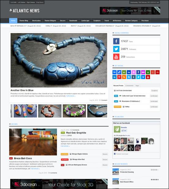 atlantic news responsive wordpress magazine blog WordPress Haber ve Portal Temaları