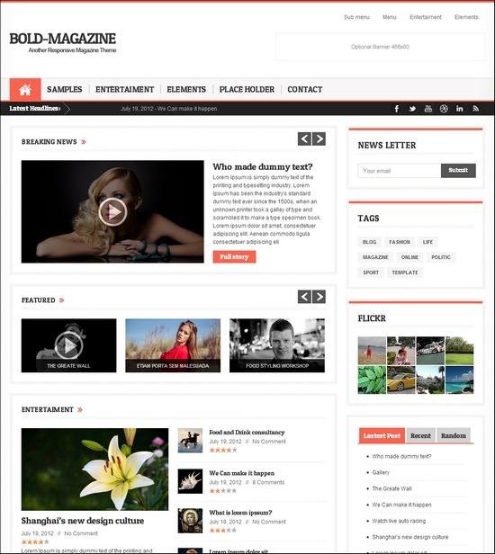 Bold Magazine is a responsive WordPress magazine theme