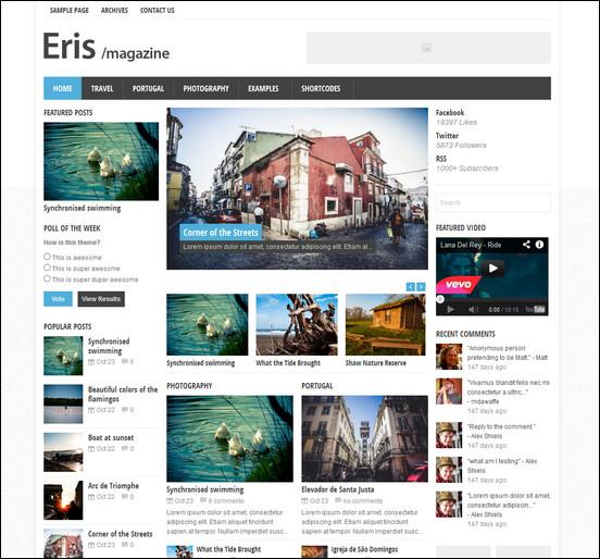 eris responsive wordpress magazine theme WordPress Haber ve Portal Temaları