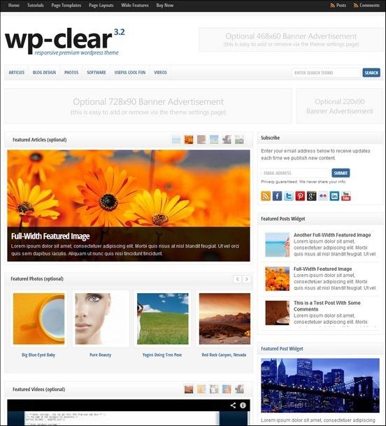 wp clear theme thumb1 WordPress Haber ve Portal Temaları