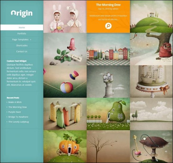 origin is a unique wordpress theme that uses images to tell you a story