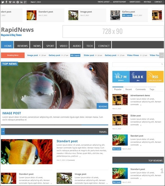 RapidNews is a feature-rich WordPress magazine theme
