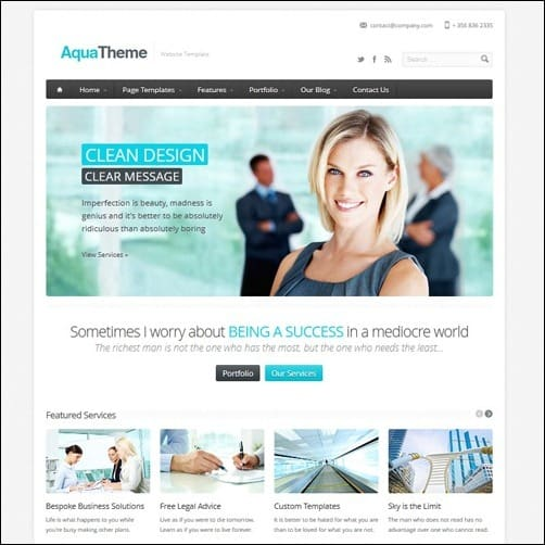 Aqua Business Website Template
