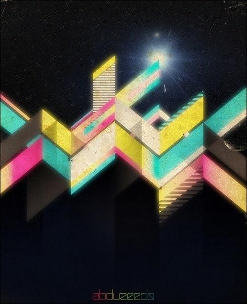 retro-geometric-vectors-in-space