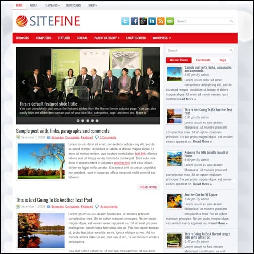 sitefine free wordpress theme