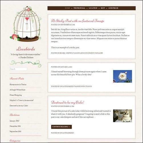 lovebirds free wordpress theme