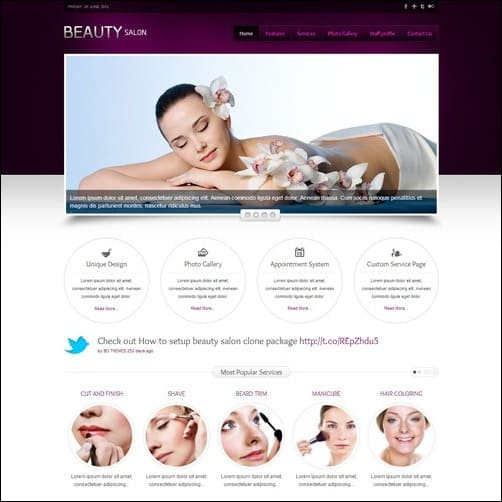 beauti salon Joomla 3.0 Template