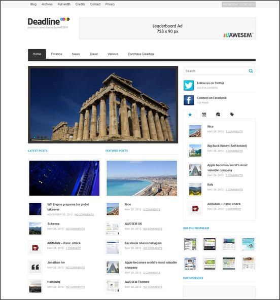 deadline wordpress news theme WordPress Haber ve Portal Temaları