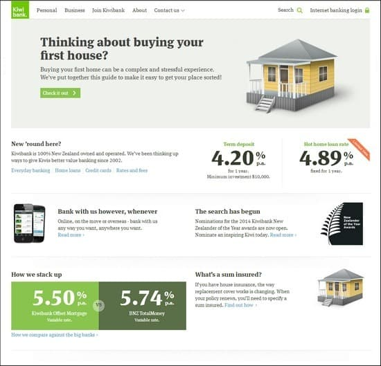 Kiwi Bank is a responsive e-commerce site