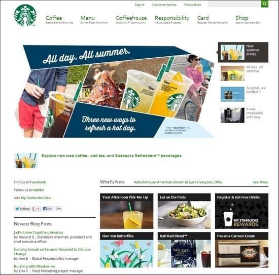 Starbucks is a responsive e-commerce site