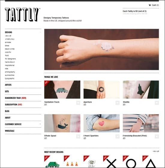 Tattly is a resposnive e-commerce site