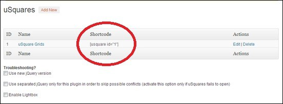 uSquare-Shortcode