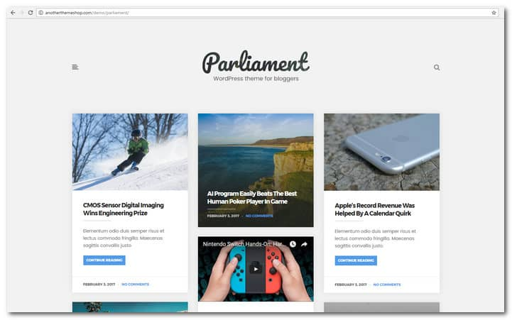 The Parliament - Masonry Grid WordPress Blog Theme