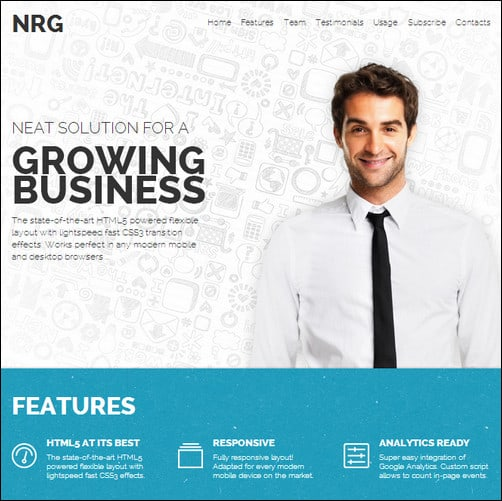 nrg business landing page template