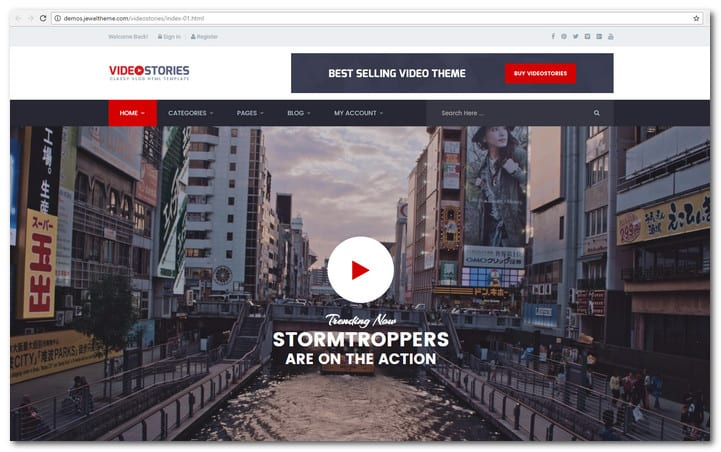 This Is A Well Made Website Template That Focused On Video Bloggers It Integrated With 7 Home Page Designs The Contains Popup