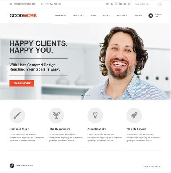 GoodWork is the absolutely ultimate theme for business! It is an elegant & modern solution packed up with an incredibly great amount of high quality features.